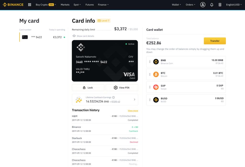 Binance Kreditkarte Overview